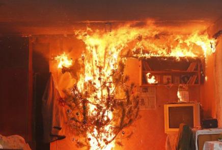 ВКраснокамске из-за гирлянды нановогодней елке сгорела квартира