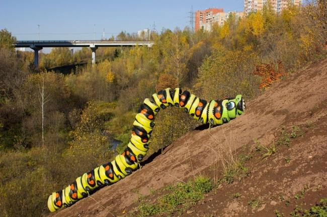 ВПерми художник смастерил огромную гусеницу изавтомобильных покрышек